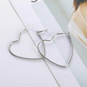 3/$20 Large Silver Heart Hoop Earrings NEW